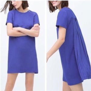 Zara Blue shift dress pleated back